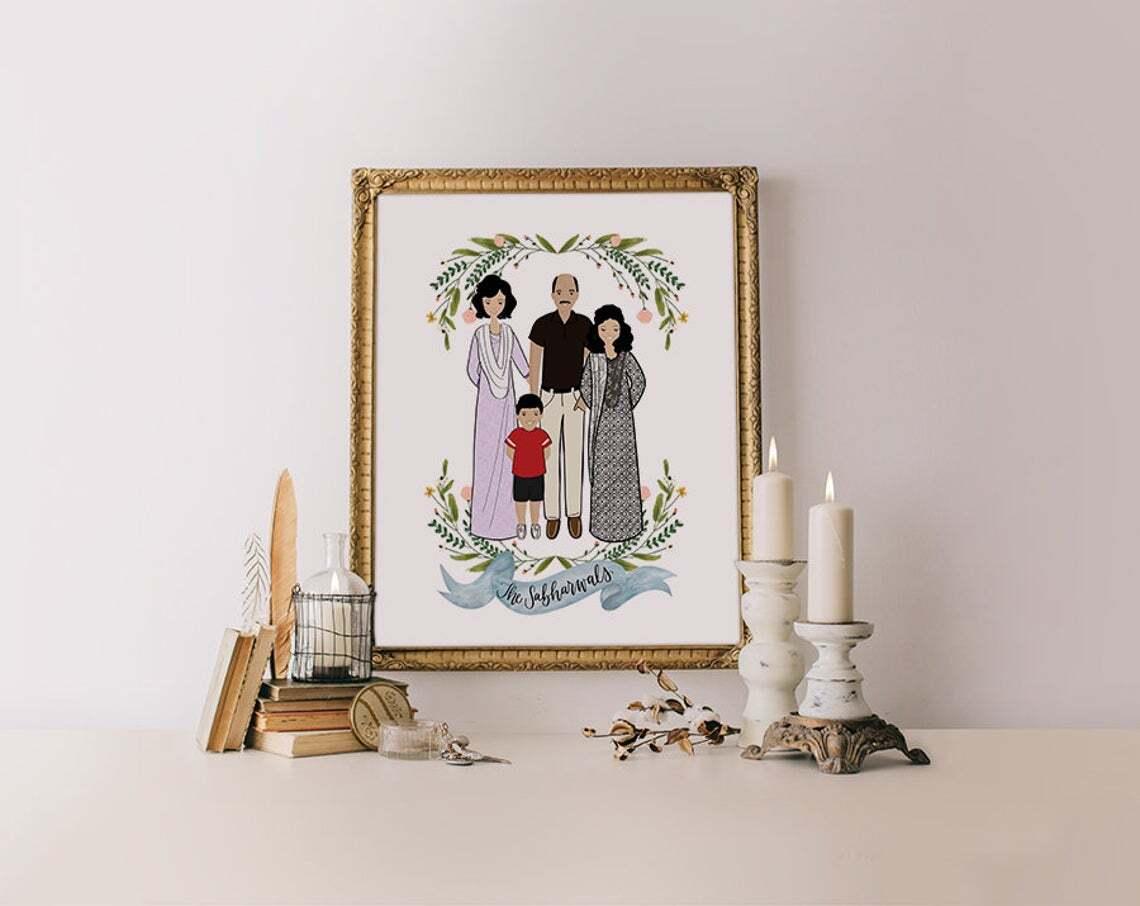 Custom portrait of couple illustration