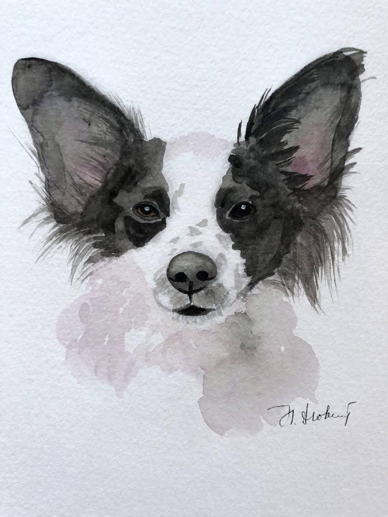 Custom Pet Portrait Original Watercolor