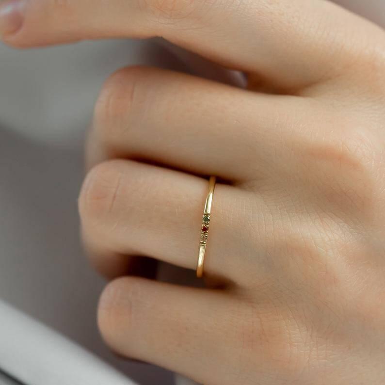 14K Dainty Birthstones Ring from Etsy