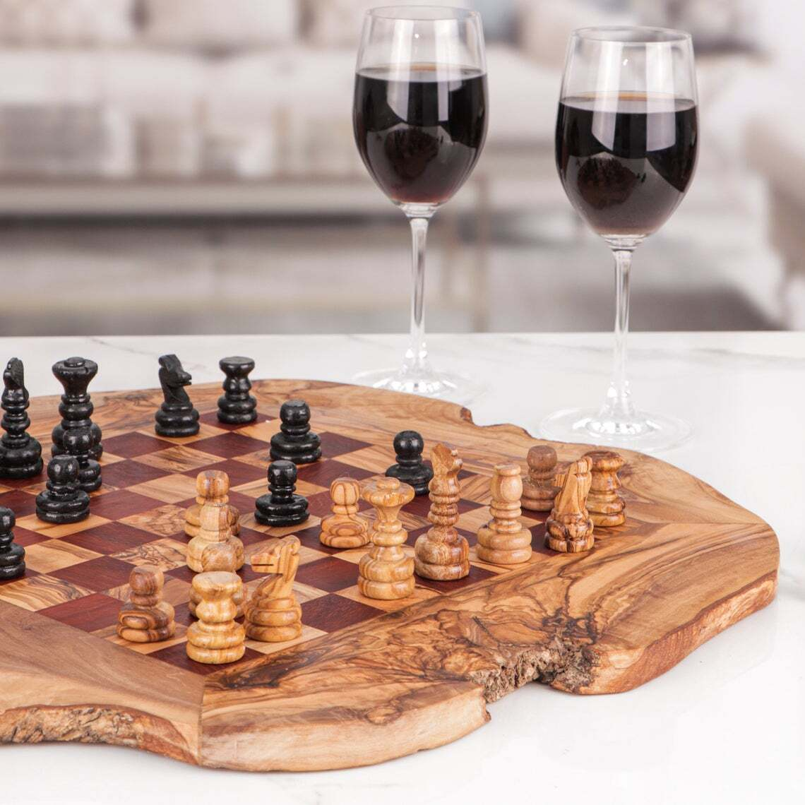 Engraved Chess Set handmade from Olive Wood