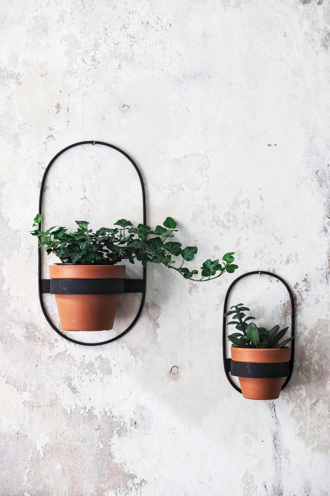 2 Wall Planters Geometric Shape Planter Black Hanging