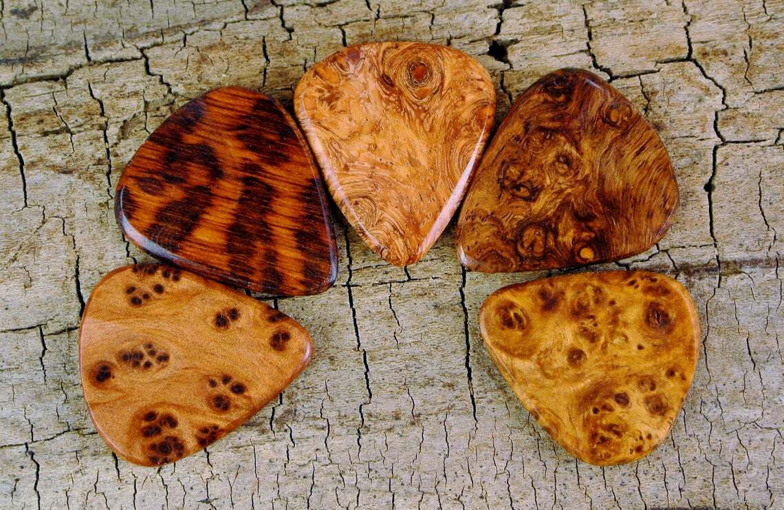 Handcrafted Wood Guitar Picks