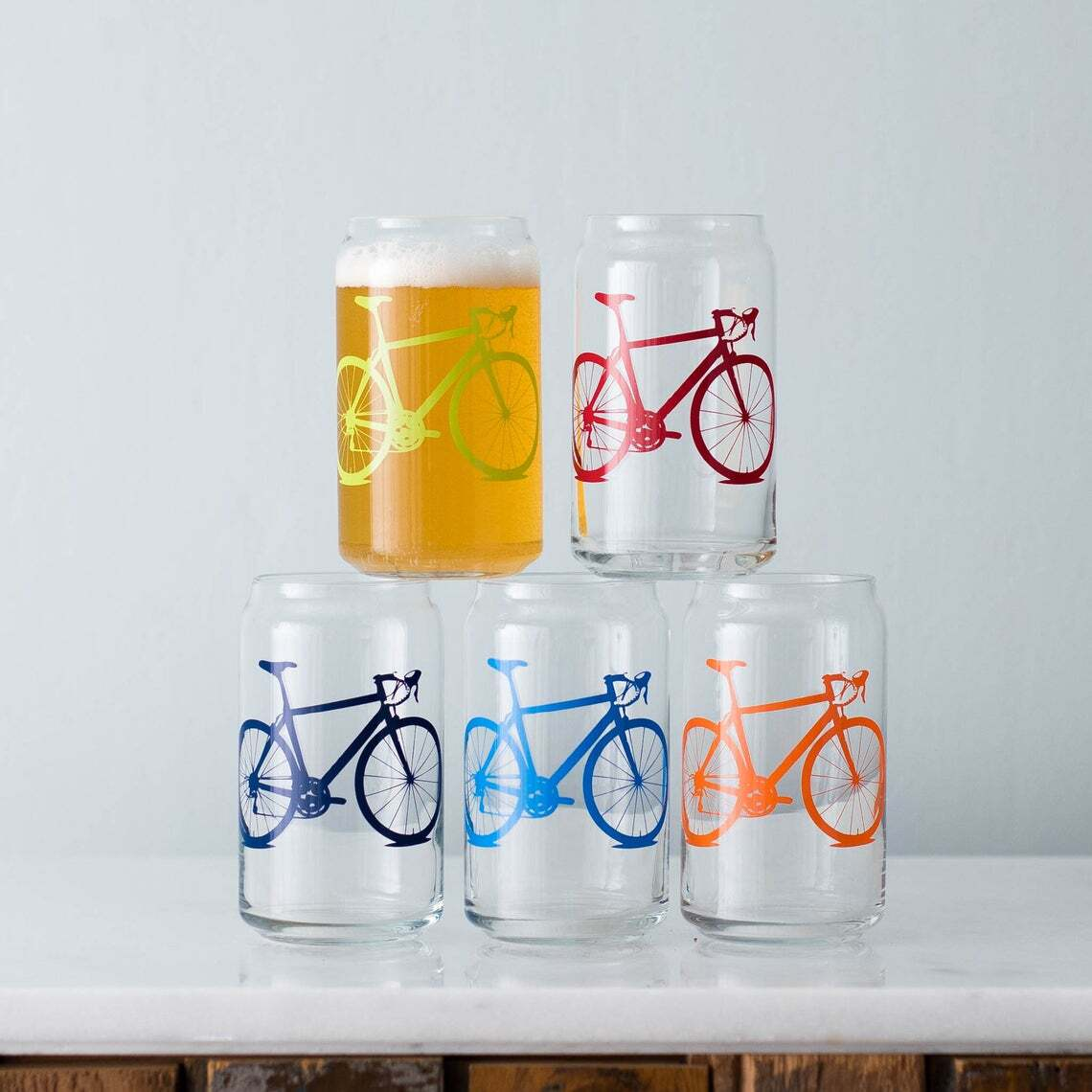 Bicycle Can Glasses SET of 2
