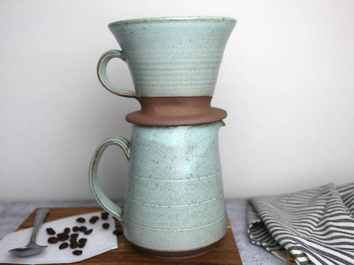 Pour over coffee set in Green Stone Glaze
